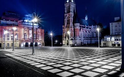 Chemnitz, square, cityscapes, nightscapes, german cities, Europe, Germany, Cities of Germany, Chemnitz Germany