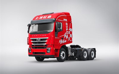Hongyan Genlyon 350, 2020, C500, 4x2 Tractor, Front View, New Red Genlyon 350, Chinese Trucks