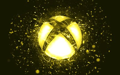 Xbox yellow logo, 4k, yellow neon lights, creative, yellow abstract background, Xbox logo, OS, Xbox