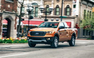 2021, Ford Ranger, Quad Cab, front view, exterior, new orange Ranger, American cars, Ford