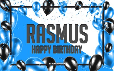 Happy Birthday Rasmus, Birthday Balloons Background, Rasmus, wallpapers with names, Rasmus Happy Birthday, Blue Balloons Birthday Background, Rasmus Birthday