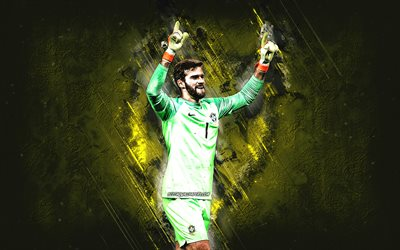 Alisson Becker, Brazil national football team, goalkeeper, Brazilian footballer, yellow stone background, Brazil, football, creative art