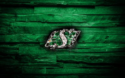 Saskatchewan Roughriders, burning logo, CFL, green wooden background, grunge, canadian football team, Canadian Football League, football, Saskatchewan Roughriders logo, Canada