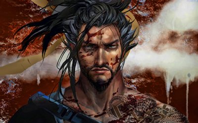 Hanzo, darkness, Overwatch characters, warriors, 2019 games, shooter, Overwatch, Hanzo Overwatch