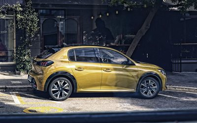 Peugeot 208, 2019, rear view, exterior, new yellow 208, compact hatchback, french cars, Peugeot