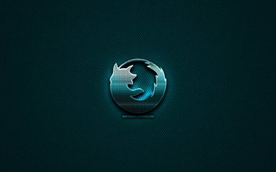 Mozilla glitter logo, creative, blue metal background, Mozilla logo, brands, Mozilla