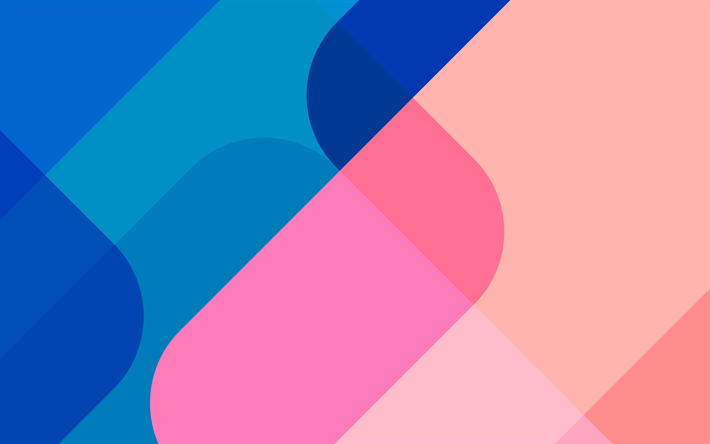 Download wallpapers 4k, material design, pink and blue ...