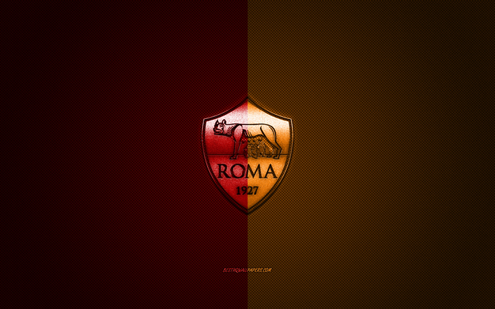 Download Wallpapers As Roma Italian Football Club Red Orange Metallic Logo Red Orange Carbon Fiber Background Rome Italy Serie A Football Roma Logo For Desktop Free Pictures For Desktop Free