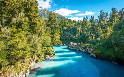 Blue River, mountains, summer, forest, South Island, New Zealand, Mount Aspiring National Park, beautiful nature Oceania