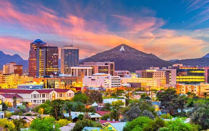Download Wallpapers Tucson 4k Cityscapes Sunset Arizona