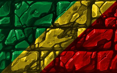 Republic of the Congo flag, brickwall, 4k, African countries, national symbols, Flag of Congo, creative, Republic of the Congo, Africa, Congo 3D flag