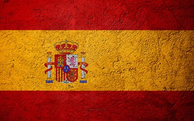 Flag of Spain, concrete texture, stone background, Spain flag, Europe, Spain, flags on stone, Spanish flag