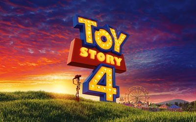 Woody, 4k, Toy Story 4 logo, poster, Toy Story characters, 2019 movie, Toy Story 4, 3D-animation, 2019 Toy Story 4