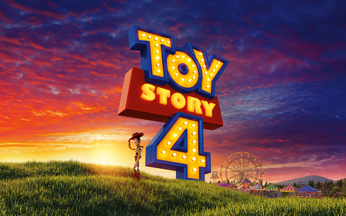 Download Wallpapers Woody 4k Toy Story 4 Logo Poster Toy