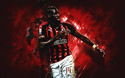 Tiemoue Bakayoko, AC Milan, French footballer, midfielder, portrait, red background, Serie A, Italy, football