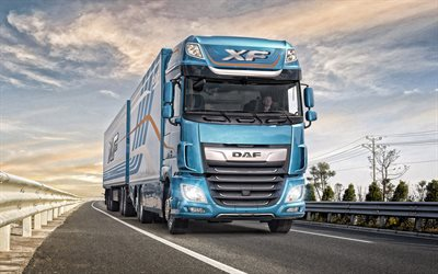 DAF XF, 2019, truck with trailer, new blue XF, trucking concepts, transportation of goods, DAF