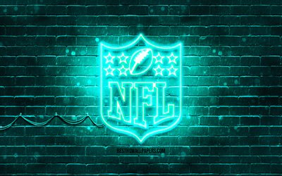 NFL turquoise logo, 4k, turquoise brickwall, National Football League, NFL logo, american football league, NFL neon logo, NFL
