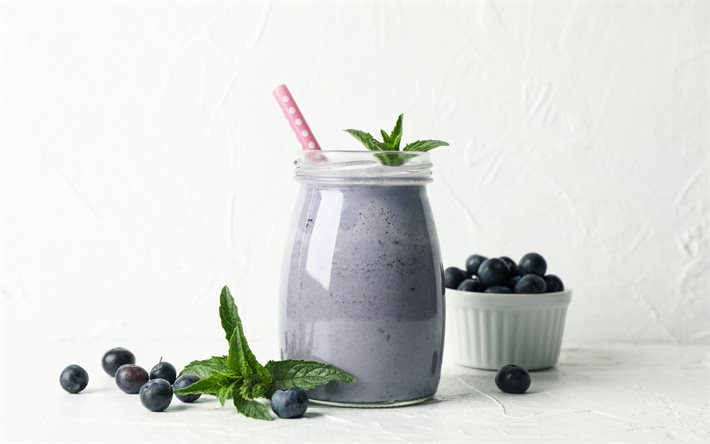 blueberry smoothie, bär smoothies, lila smoothies, milkshake, blåbär yoghurt