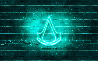 Assassins Creed turquoise logo, 4k, turquoise brickwall, Assassins Creed logo, 2020 games, Assassins Creed neon logo, Assassins Creed