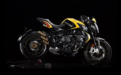 MV Agusta Brutale 800 Dragster, 2020, 3-cylinder italian Dragster, exterior, side view, new black and yellow Brutale 800RR, italian motorcycles, MV Agusta
