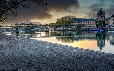Bridge of Arts, 4k, River Seine, sunset, french cities, France, Europe