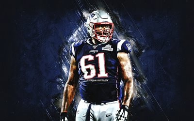 Marcus Cannon, New England Patriots, NFL, American football, portrait, blue stone background, National Football League