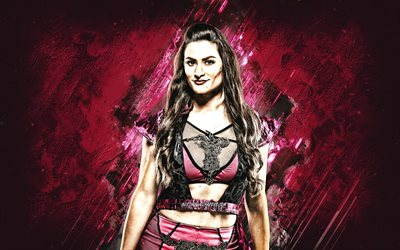 Nina Samuels, Samantha Allen, WWE, English wrestler, portrait, creative art, pink stone background