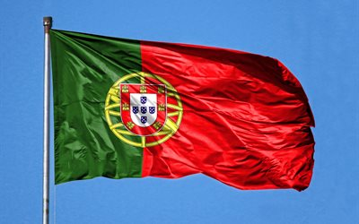 Portugal flag on flagpole, Flag of Portugal, blue sky, flagpole, Portuguese flag, Portugal flag