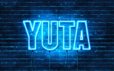 Yuta, 4k, wallpapers with names, horizontal text, Yuta name, Happy Birthday Yuta, popular japanese male names, blue neon lights, picture with Yuta name