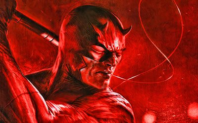 Daredevil, 4k, artwork, superheroes, battle, DC Comics, Daredevil 4K, 3D art