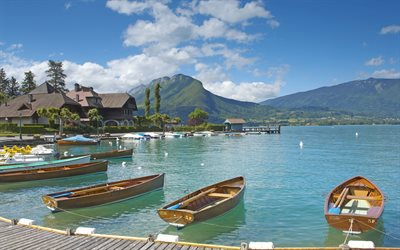Lake Annecy, France, city lake, boats, pier, summer, Upper Savoy