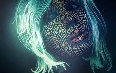 4k, female face, art, typography, green hair