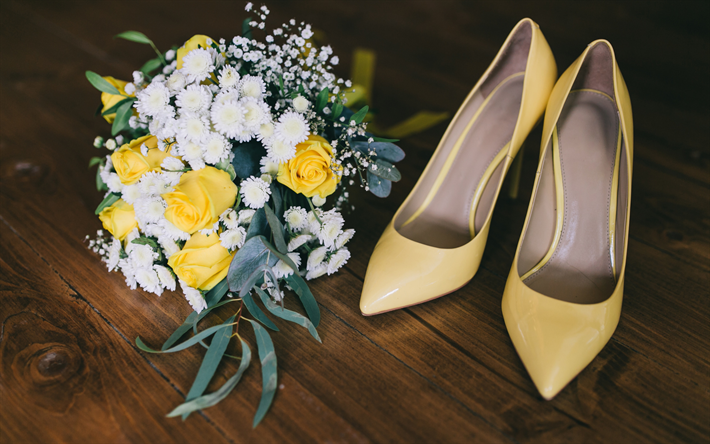 Scarpe Da Sposa Gialle.Scarica Sfondi Bouquet Da Sposa Con Rose Gialle Scarpe Sposa