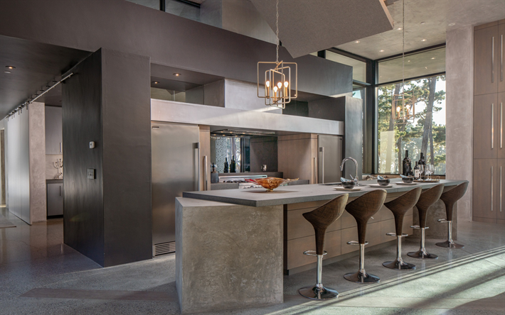 stylish kitchen interior, dining room, gray interior, modern interior design, loft style, gray art concrete