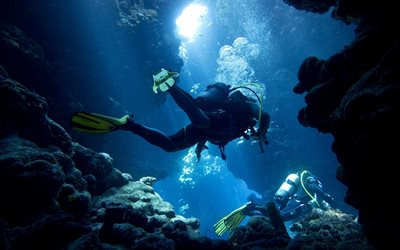 divers, underwater world, rocks, extreme hobbies, diving