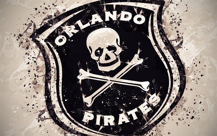 Download Wallpapers Orlando Pirates Fc 4k Paint Art Logo