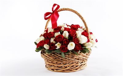 basket of flowers, basket of roses, red roses, white flowers