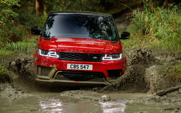 4k, Range Rover Sport Autobiography, mud, offroad, 2018 cars, Land Rover