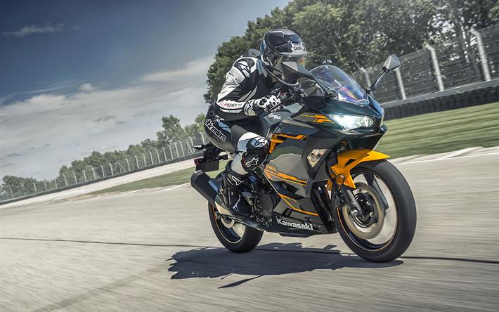 Kawasaki Ninja H2 Price >> Download wallpapers Kawasaki Ninja 400, 2018, sportbike, racing track, speed, black orange ...