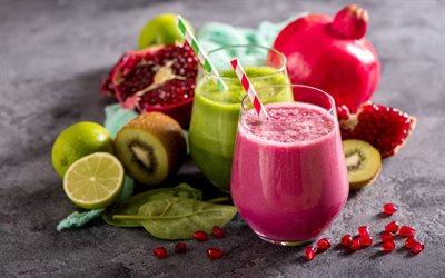 smoothies, healthy food, healthy drinks, green smoothies, pomegranate smoothies, fruits