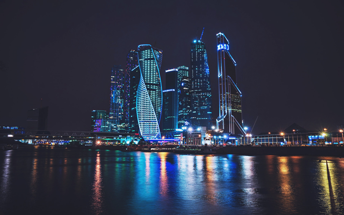Moscow City in night, modern buildings, nightscapes, cityscapes, Russia, Moscow City, skyscrapers, Moscow