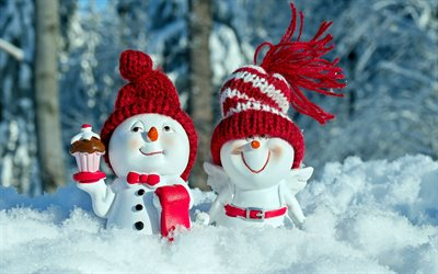 winter, snow, snowmen, red hats, New Year, snowman