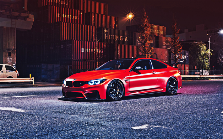 t l charger fonds d 39 cran bmw m4 2018 rouge coup sport f82 tuning bmw m4 noir roues les. Black Bedroom Furniture Sets. Home Design Ideas