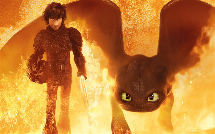 How to Train Your Dragon 3, 2019, 4k, 3D dragon, promotional materials, poster, new cartoons