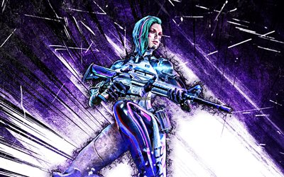 A124, grunge art, 4k, GFF, Free Fire Battlegrounds, Garena Free Fire characters, violet abstract rays, Garena Free Fire, A124 Free Fire
