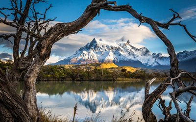 beautiful lake, winter, Andes, mountain landscape, snow, Patagonia
