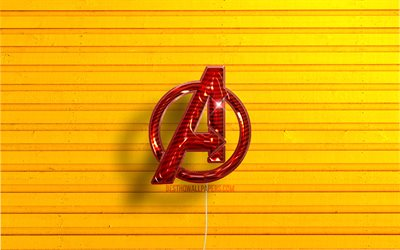 Avengers logo, 4K, red realistic balloons, superheroes, Avengers 3D logo, yellow wooden backgrounds, Avengers