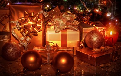 4k, bronze gift boxes, bronze tinsel, Happy New Year, christmas decorations, gift boxes, Merry Christmas, new year concepts