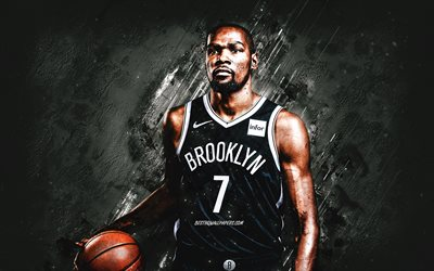 Kevin Durant, NBA, Brooklyn Nets, american basketball player, portrait, gray stone background, basketball, National Basketball Association