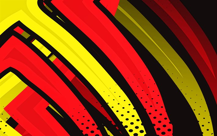 4k, red and yellow lines, grunge art, geometric shapes, creative, colorful backgrounds, abstract lightings, abstract backgrounds, colorful lines